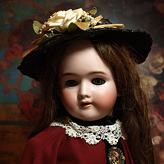 Antique German Beauty from Heinrich Handwerck Simon & Halbig- Antique Long Brown Wig with Antique Dress ♥♥