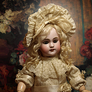Jumeau DEP French Antique Doll in Gorgeous Lace with Satin Ribbons Antique Dress and Lovely Bonnet ♥♥