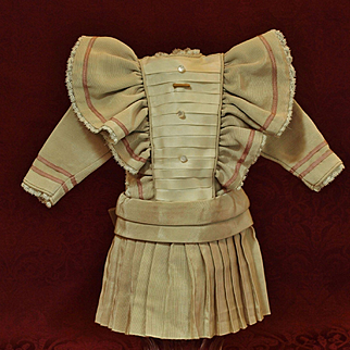 Ecru Factory Made Doll Dress  with Lots of Pleating- Over the Shoulders Bretelles ♥♥