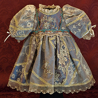 A Creme de la Creme Valencienne Lace Dress for the Antique Doll-Exquisite Embellished Beading, Gold Trim and Satin Ribbons