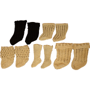 Five Pair of Lovely Open Weave Antique Doll Socks-Beautifully Designed for the Antique Dolls-Doll Shop Items
