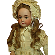 Antique French Walker/Kissing Doll-Lovely Dress and Matching Bonnet