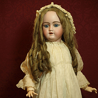 Beautiful Antique Heinrich Handwerck Doll with Gorgeous Hand Made Antique Wig-Completely Dressed in Antique Garments