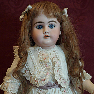 "Antique German Handwerck Doll -DEP - A 20.5"" Cabinet Size Sweet Doll with Beautiful Blue Sleep Eyes and Exquisite Dress"