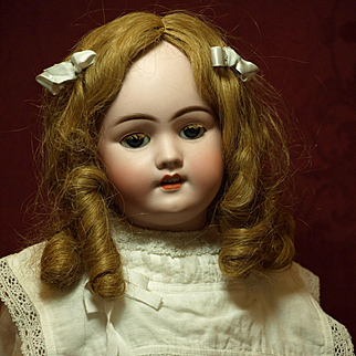 Antique German Handwerck Doll Wearing her Antique Human Hair Wig with Tendrils and Original Upper Lashes