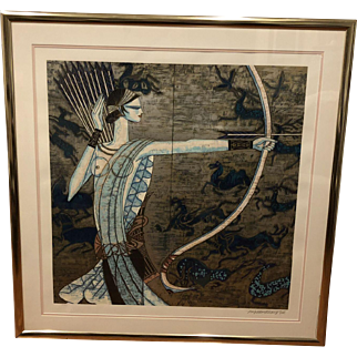 """An custom framed original serigraph of  """"Hunting Ages"""" by Ting, Shao Kuang"""