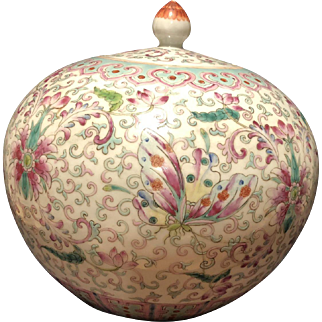 A  Chinese 19th Century Porcelain Famille Rose Ginger Jar With Butterflies and Flowers