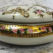 NIPPON Handpainted Vintage Noritake Morimura Porcelain Hair Receiver 1911 -1921
