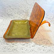 Art Deco Style Lucite Tortoise Silent Butler  Brass Insert Liner