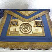 Buckinghamshire England MASONIC APRON - Oxford Blue Leather - Gold BullionTrim