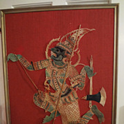 Vintage HINDU Shadow Puppet - HANUMAN - Mounted on Frame