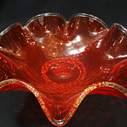 Vintage 1950s/1960s Amberina colored Diamond Optic glass bowl with applied Rigaree base and Aventurine rim.