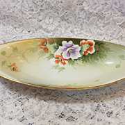 NIPPON Celery Dish / Bowl - Hand Painted w/ Wild Roses - Morimura