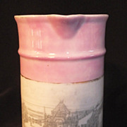 Vintage German Creamer / Small Pitcher PIER SKEGNESS - Pink  Luster