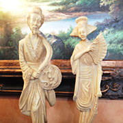 Vintage Mid-Century Moderne CHINESE STATUES  Warrior Protector & Guan Kwan Yin - Excellent