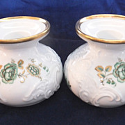 Pair of ROYAL PORZELLAN - KPM Bavaria - Candle Holders - Gold Trim