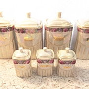 Vintage Lusterware Lustre Canisters - Opalescent German Numbered