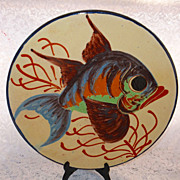 "14"" Large MAJOLICA Charger - Platter - Red Ware FISH"