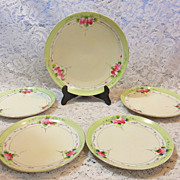 Wild Roses - Nippon Hand Painted 5 Piece Set Desert Plates