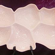 Mid Century JEANETTE Glass Pink Shell Divided Server  / Venetian