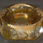 AMBER / YELLOW Peacock & Rose / Nora Bird Console Bowl by Paden City