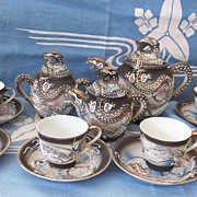Dragon Ware Tea Set - 18 Pieces - Japanese  -Moriage