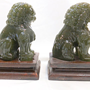 Vintage Pair of Jade Green Peking Glass Foo Dogs or Lions with Wood Stands