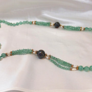 Gorgeous Vintage Green Aventurine Beads, Cloisonne and Fresh Water Cultured Seed Pearls Necklace