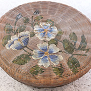Vintage Hand Made Woven Sewing Basket with Hand Painted Flower Decoration