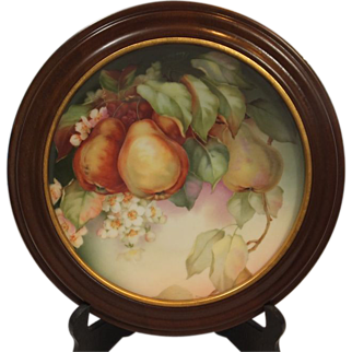 Walnut Framed Thomas Sevres Bavaria Hand Painted GRANADA Fruit Plate