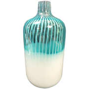 Harrachov Czech AQUA Opalescent Cased ART GLASS Vase -Jug