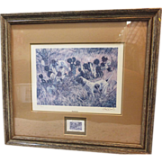 "Herb Booth Signed, Numbered  Limited Edition Framed Print & Stamp-""Bracketted"" Quail"