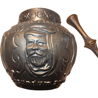 Vintage Bronze Mortar and Pestle - Embossed w/ Maimonides Father of Pharmacy - Advertising for Drug Store / Pharmacy
