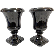 Pair LE Smith Black Amethyst Urns - Garland Pattern - Red Tag Sale Item