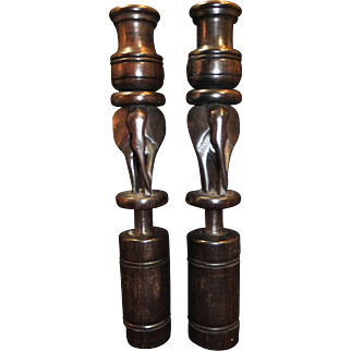 "Pair of Vintage Hand Crafted African Elephant Candle Holders - Very Detailed Acacia Wood Stands 12"" Tall"