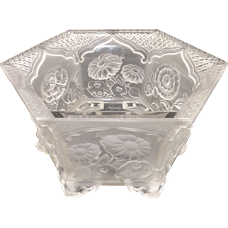Signed VERYLS Hexagonal Glass Chrysanthemum Bowl - Frosted Satin Finish