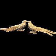 "Pair of Solid Gilded Metal Hollywood Regency Style Pheasant Figurines 5"" x 12"""
