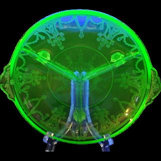 Uranium  Depression Glass Three Section Server - Relish Dish - CAMEO - BALLERINA - DANCING GIRL