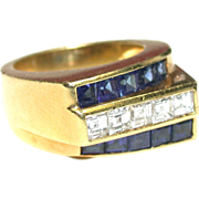 Retro Sapphire Diamond Ring