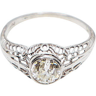 Diamond Solitaire in a Lovely Filigree Mounting