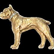 Bullmastiff Brooch with Diamond Collar