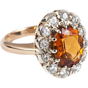 Citrine Diamond Halo Ring