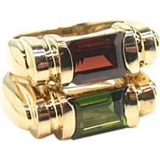 A Pair of Refined Classics- Gem Set Rings
