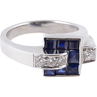 A Crackerjack of a 1930's Sapphire Diamond Platinum Ring