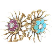 Double Daisy Ring with Enamel, Turquoise & Ruby