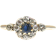 Art Deco Gold Platinum Diamond Sapphire Flower Cluster Ring