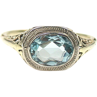 Vintage Celestial Aquamarine Filigree Ring