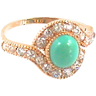18kt Turquoise Old European Cut Diamond Ring