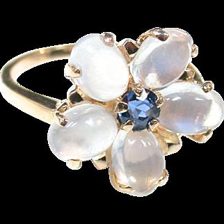Moonstone Sapphire Flower Ring