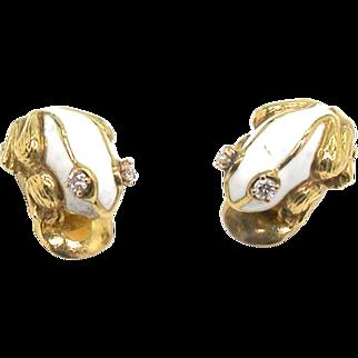 Enamel 18kt Frog Ear Clips